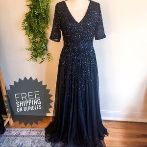 Adrianna Papell Navy Sequin + Tulle Cocktail Dress